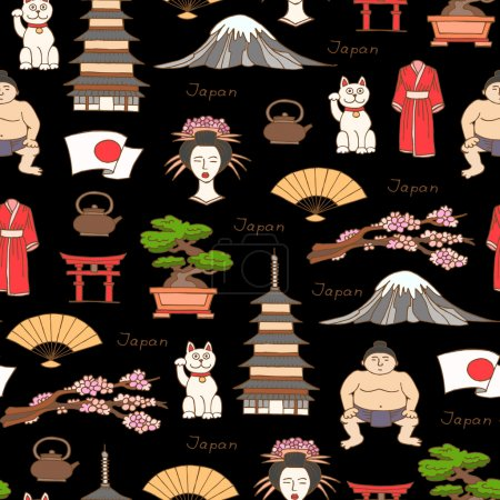 Vector seamless pattern with hand drawn colored symbols of Japan