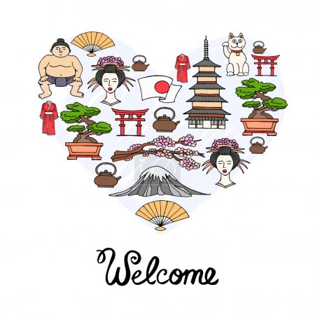 Stylized heart with hand drawn colored symbols of Japan