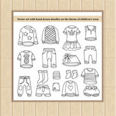 Vector set with hand drawn isolated doodles of clothes for boys and girls Flat illustrations on the theme of children's wear fashion Sketches for use in design web site packing textile fabric