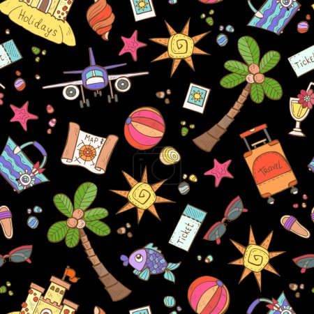 Vector seamless pattern with hand drawn colored symbols of summe