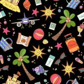 Vector seamless pattern with hand drawn colored symbols of summer and holidays on black color Pattern on the theme of travel tourism Background for use in design packing web site fabric
