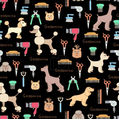 Vector seamless pattern with hand drawn colored dogs, grooming s