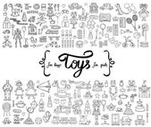 Vector set with hand drawn isolated doodles of toys for boys and girls