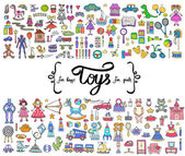 Vector set with hand drawn colored doodles of toys for boys and girls