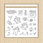 Vector set with hand drawn isolated doodles of washing symbols Flat illustrations on the theme of laundry Sketches for use in design web site packing textile fabric