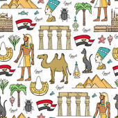 Vector seamless pattern with hand drawn colored symbols of Egypt