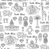 Vector seamless pattern with hand drawn isolated symbols of South Africa on white color