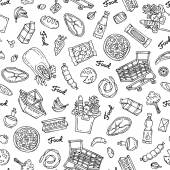 Pattern on the theme of food on white color