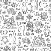 Pattern with symbols of United States of America on white color