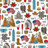 Pattern with colored symbols of United States of America