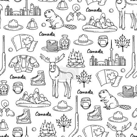 Illustration pour Modèle vectoriel homogène sur le thème du Canada. Modèle avec des symboles du Canada sur la couleur blanche. Contexte pour une utilisation dans la conception, site Web, emballage, textile, tissu - image libre de droit