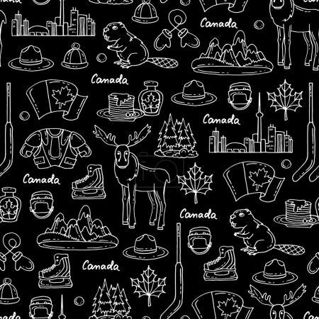Illustration pour Modèle vectoriel homogène sur le thème du Canada. Modèle avec des symboles du Canada sur la couleur noire. Contexte pour une utilisation dans la conception, site Web, emballage, textile, tissu - image libre de droit