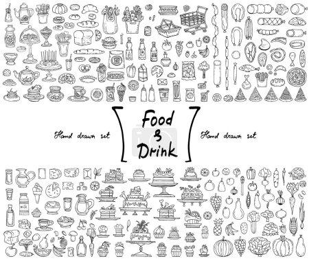Photo pour Ensemble vectoriel avec griffes isolées dessinées à la main sur le thème de la nourriture et des boissons. Illustrations de fruits, légumes, produits laitiers, saucisses, gâteaux, pain. Esquisses à utiliser dans la conception - image libre de droit