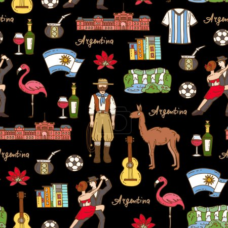 Illustration for Vector seamless pattern with hand drawn colored symbols of Argentina on black color. Pattern on the theme of travel and tourism. Background for use in design, packing, web site, fabric - Royalty Free Image