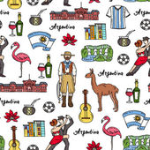 Vector seamless pattern with hand drawn colored symbols of Argentina