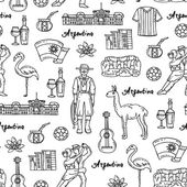 Vector seamless pattern with hand drawn isolated symbols of Argentina on white color