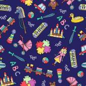 Vector seamless pattern with hand drawn colored toys for girls and boys on blue color