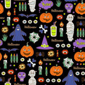 Vector seamless pattern with hand drawn colored symbols of Halloween on black color