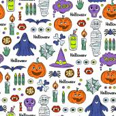Vector seamless pattern with hand drawn colored symbols of Halloween