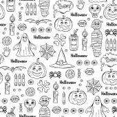 Vector seamless pattern with hand drawn isolated symbols of Halloween on white color