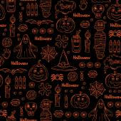 Vector seamless pattern with hand drawn isolated symbols of Halloween on black color