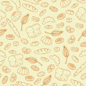 Vector pattern with hand drawn bakery products