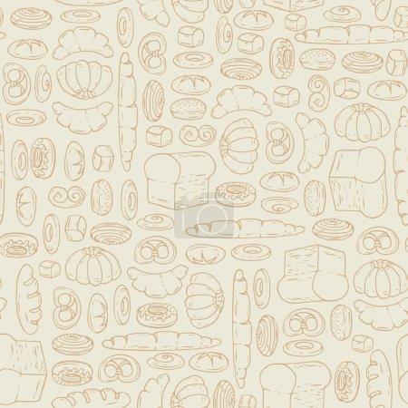 Illustration pour Modèle vectoriel sans couture avec dessin animé, produits de boulangerie dessinés à la main. Contexte pour une utilisation dans la conception, site Web, emballage, textile, tissu - image libre de droit