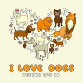 Vector stylized heart with cartoon funny dogs