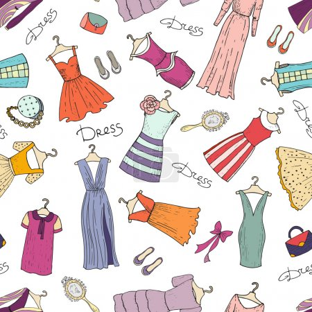 Vector seamless pattern with hand drawn dresses
