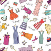 Vector seamless pattern with hand drawn fashionable dresses and accessories Background for use in design web site packing textile fabric
