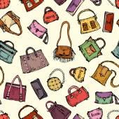 Vector pattern with hand drawn handbags