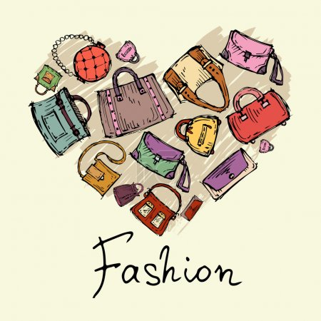 Vector stylized heart with hand drawn handbags