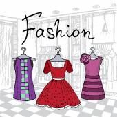 Vector illustration with hand drawn dresses