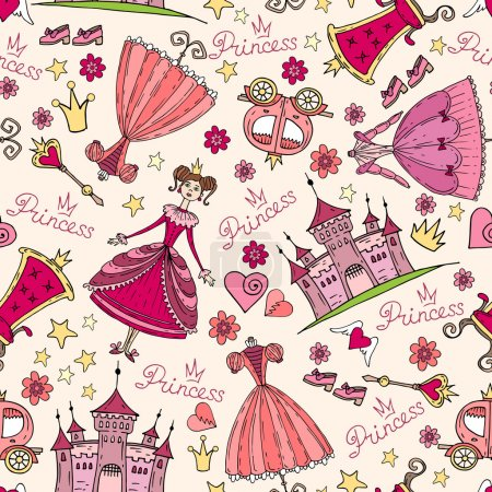 Vector pattern with hand drawn symbols of princess