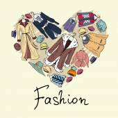Vector stylized heart with outerwear for women