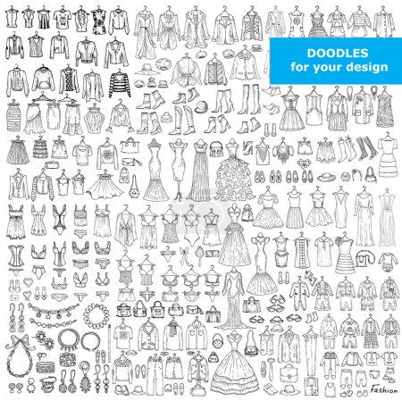 Vector set with doodles of fashionable clothes and accessories