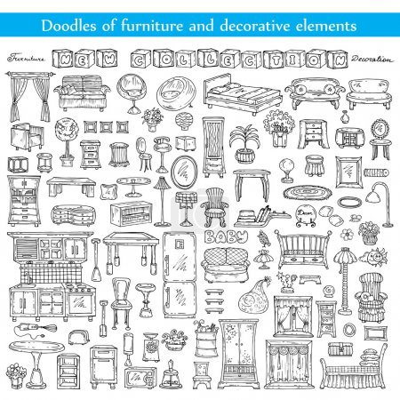 Vector set with doodles of furniture and decorative elements