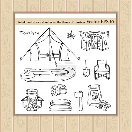 Illustration for Vector set of hand drawn doodles on the theme of tourism. Illustrations of tourism symbols - tent, boat, fire, ax, shovel, map, flashlight, sleeping bag. Sketches for use in design, web site, packing, textile, fabric - Royalty Free Image