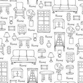 Pattern with hand drawn furniture on white color