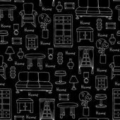 Pattern with hand drawn furniture on black color