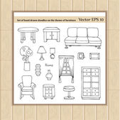 Vector set of hand drawn doodles on the theme of furniture Illustrations of sofa chair cabinet table curtains interior decorations Sketches for use in design web site packing textile fabric