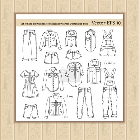 Set with doodles with jeans wear for women, men