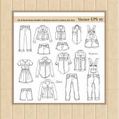 Vector set of hand drawn doodles with jeans wear for women and men -  jeans skirt shorts shirt jacket dress jacket coveralls Sketches for use in design web site packing textile fabric
