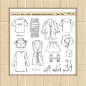 Vector set of hand drawn doodles on the theme of ladies fashion Illustrations of women's clothing Sketches for use in design web site packing textile fabric