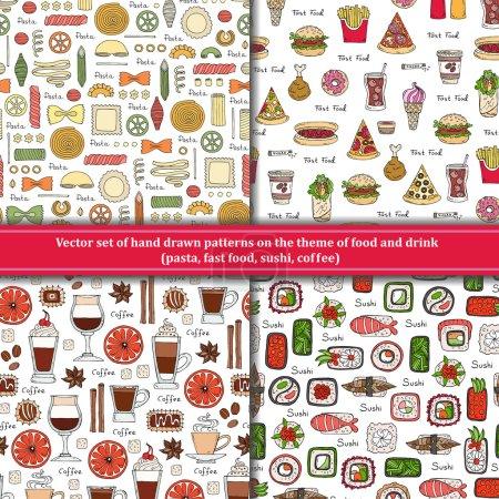 Photo pour Ensemble vectoriel de motifs dessinés à la main sur le thème de la nourriture et des boissons. Motifs avec des pâtes isolées, restauration rapide, sushi, café. Contexte pour une utilisation dans la conception, site Web, emballage, textile, tissu - image libre de droit