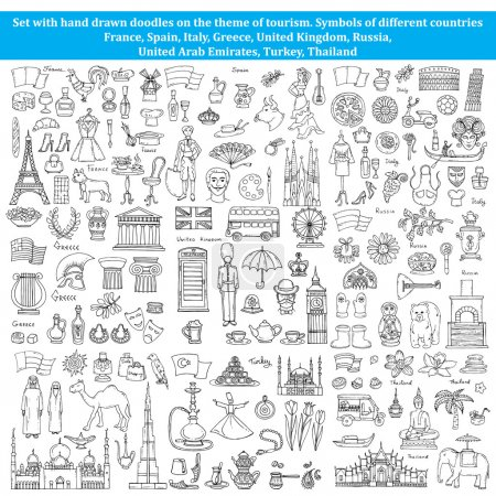 Set of doodles on the theme of countries of Europe, Asia