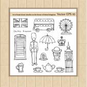 Vector set of hand drawn doodles on the theme of United Kingdom Illustrations of United Kingdom symbols Sketches for use in design web site packing textile fabric
