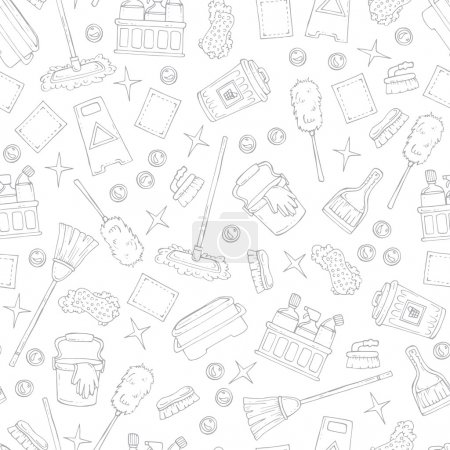 Pattern on the theme of cleaning services company on white