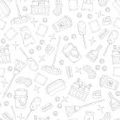 Vector seamless pattern on the theme of cleaning services company Pattern with hand drawn symbols of cleaning on white color Background for use in design web site packing textile fabric