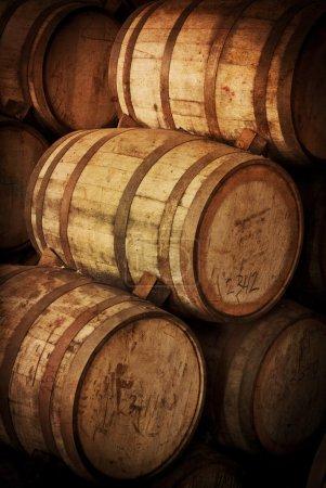 Wine barrels together